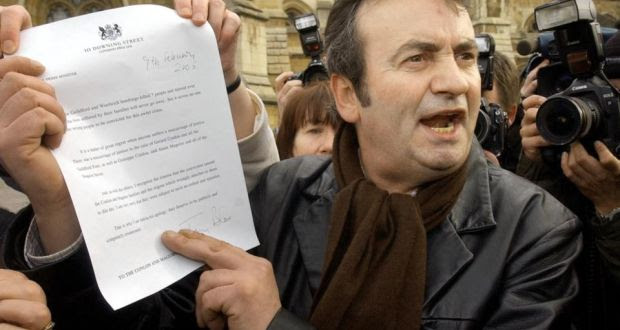 Gerry Conlon shows the letter of apology he received from then prime minister Tony Blair, in 2005. Photograph: Stefan Rousseau/PA